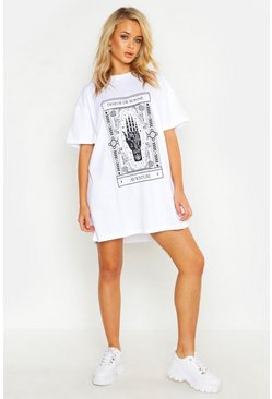 Womens White Mystic Print Oversized T-Shirt Dress
