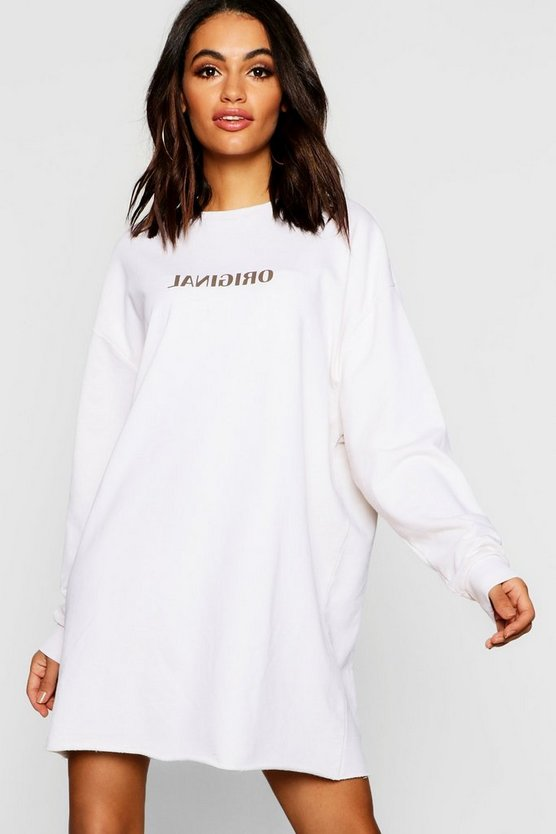 Womens Stone Original Reverse Print Oversized Sweatshirt Dress