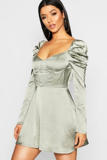 Womens Sage Satin Bustier Puff Sleeve Skater Dress