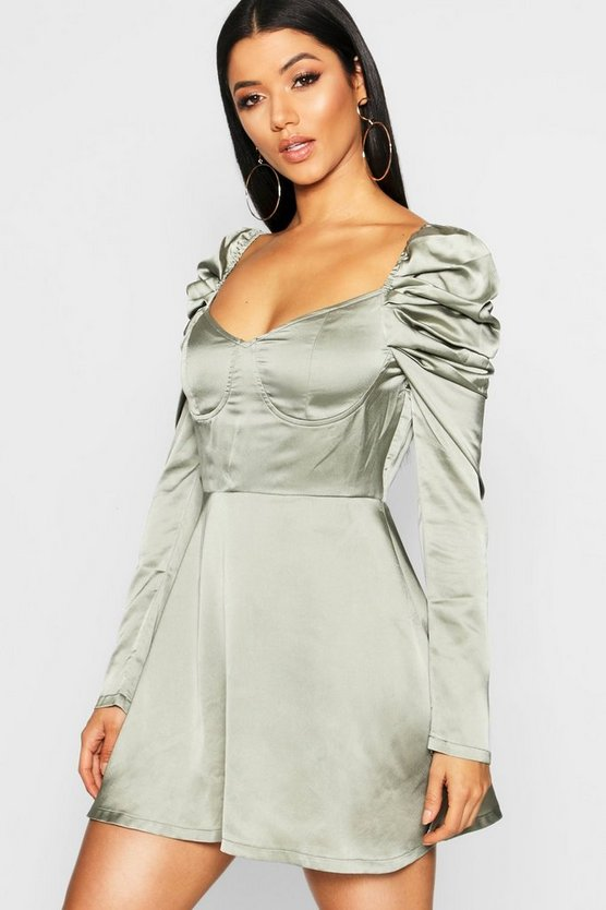 Satin Bustier Puff Sleeve Skater Dress