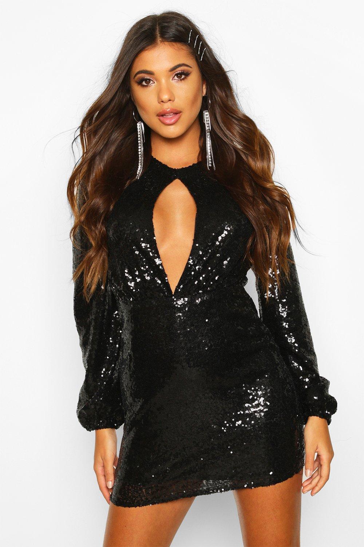 Sequin Keyhole Long Sleeve Bodycon Dress, Black