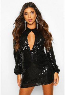 Womens Black Sequin Keyhole Long Sleeve Bodycon Dress