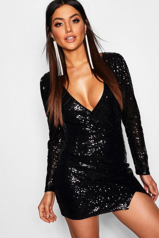 Sequin Wrap Long Sleeve Bodycon Dress