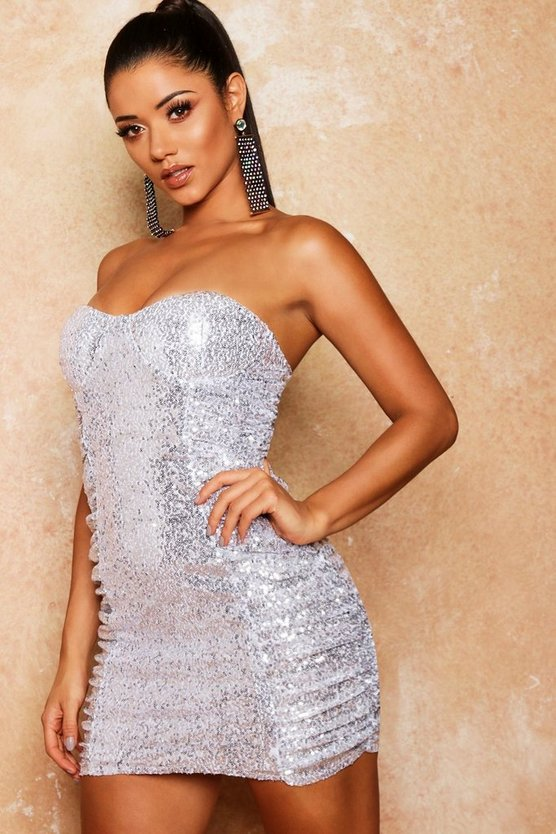 Womens Silver Sequin Bandeau Ruched Bodycon Dress