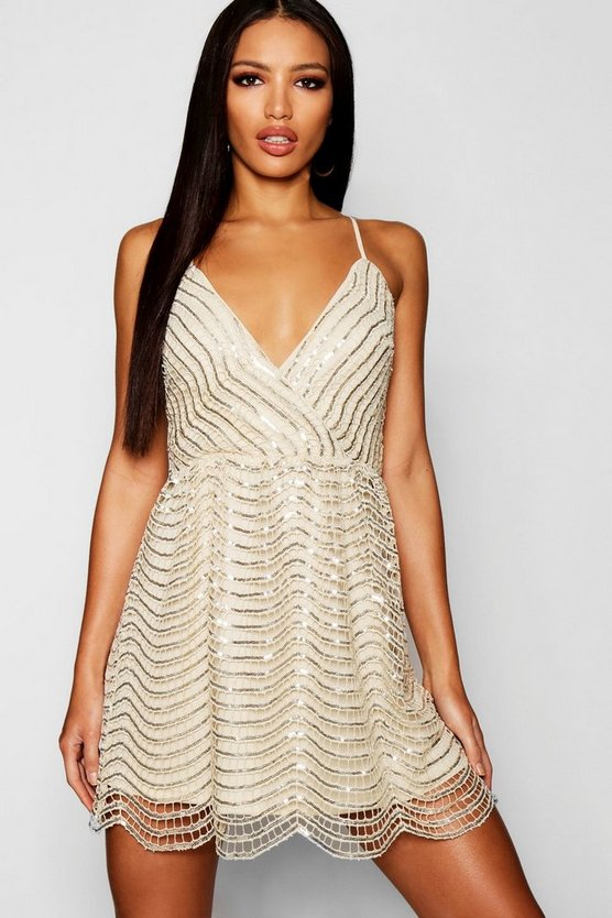 Sequin Scallop Lace Bodycon Dress