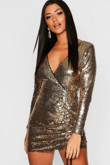 Womens Gold Sequin Long Sleeve Ruched Bodycon Dress
