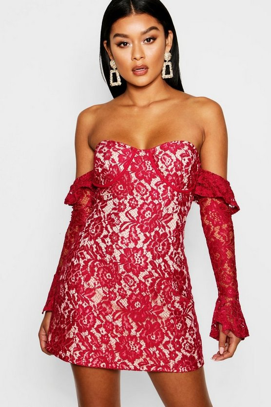 Lace Off The Shoulder Frill Bodycon Dress