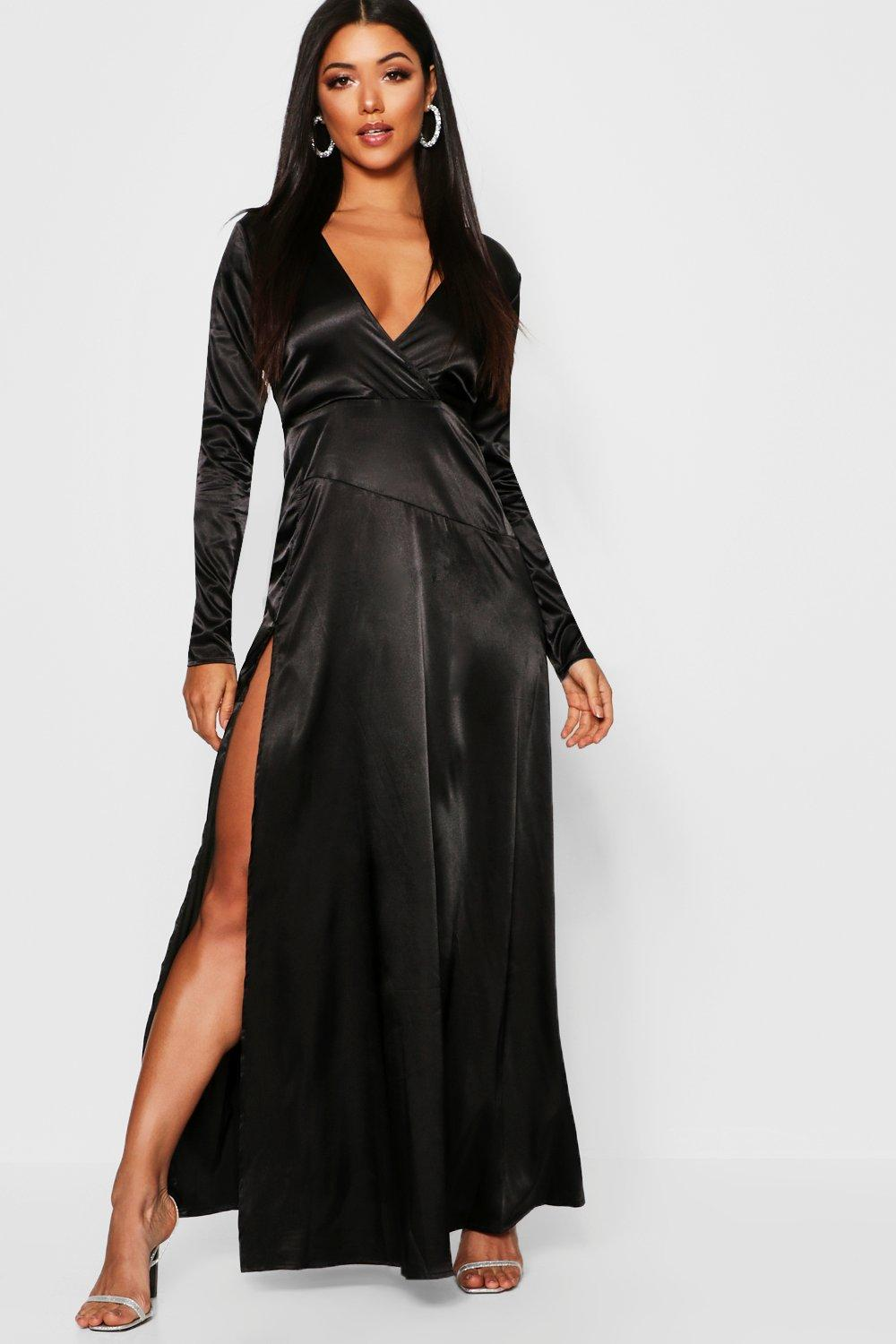 4f85571302ca5 Womens Black Satin Wrap Detail Long Sleeve Maxi Dress. Hover to zoom