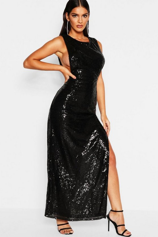 Womens Black Sequin Open Side Maxi Dress