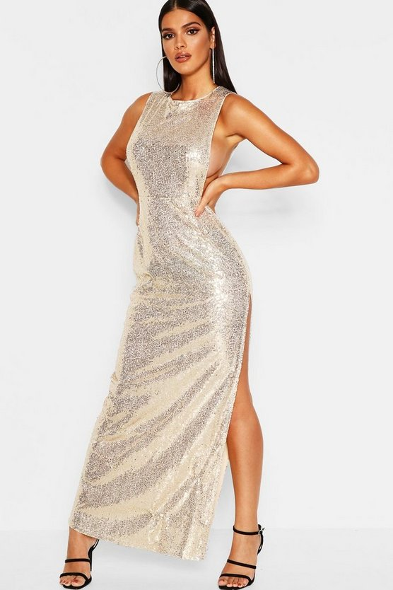 Sequin Open Side Maxi Dress