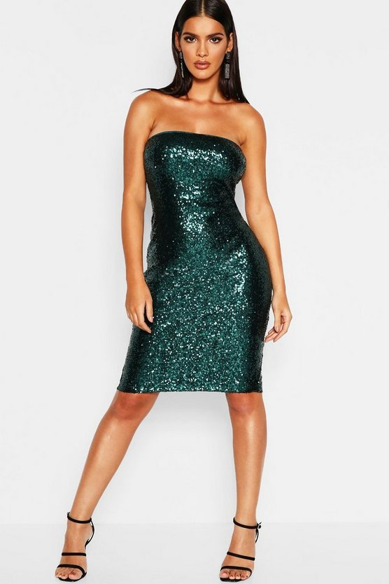 Sequin Bandeau Midi Dress