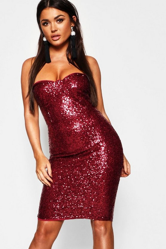 Sequin Bustier Midi Dress