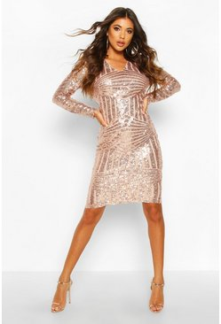 Rose Sequin & Mesh Plunge Neck Midi Dress