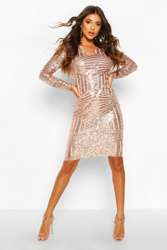 Womens Rose Sequin & Mesh Plunge Neck Midi Dress