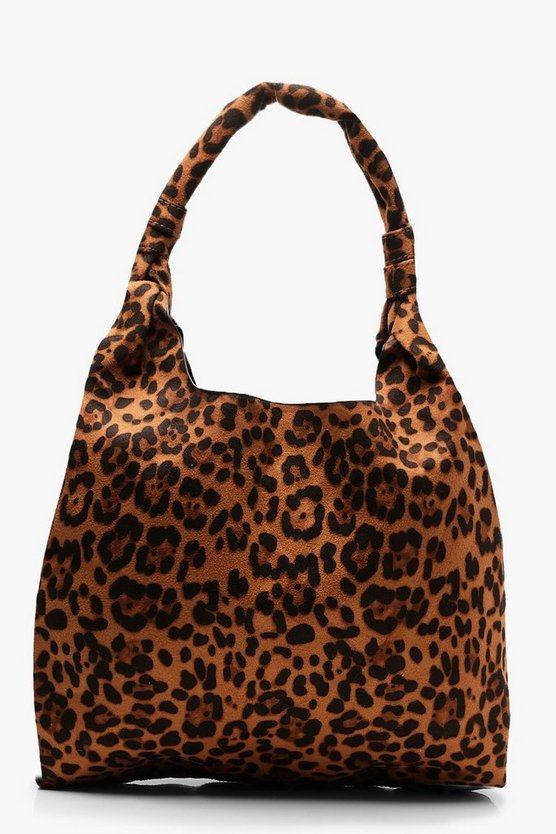 All Over Leopard Slouch Hobo Bag, Natural, Donna