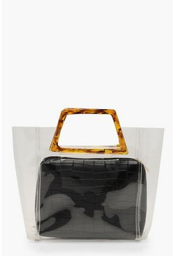 Womens Black Tortoiseshell Resin Handle Clear Bag
