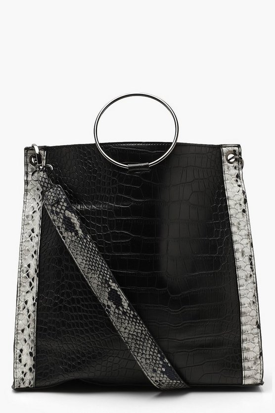 Womens Black Faux Python Trim Ring Handle Daybag