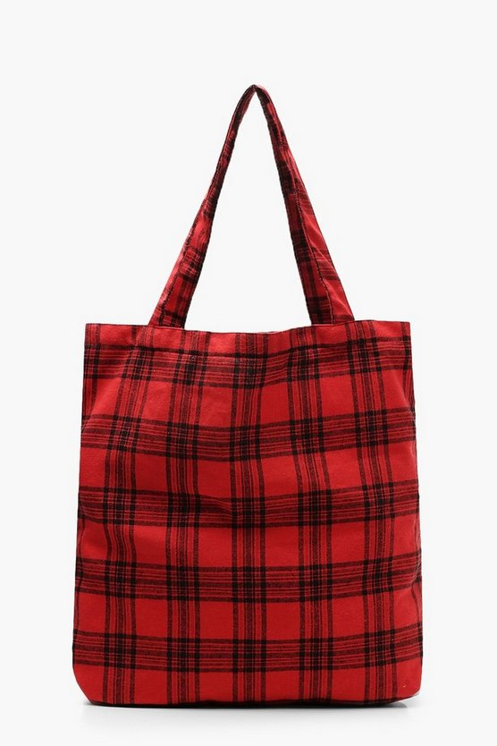 Womens Red All Over Check Shopper