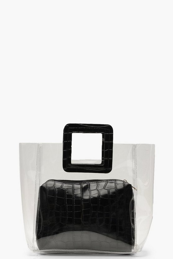 Womens Black Croc Insert And Handle Clear Daybag