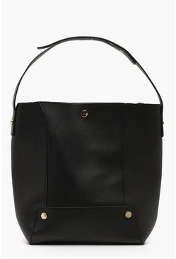 Womens Black Panel Detail Shopper Daybag