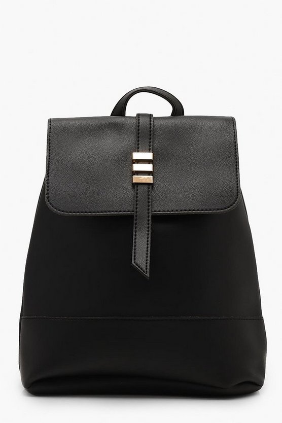 Womens Black Bar Detail Flap Rucksack