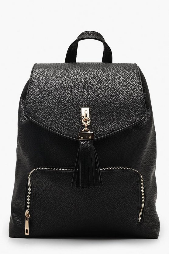 Womens Black Tassel Trim Rucksack