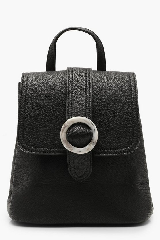 Womens Black Grey Resin Buckle Rucksack