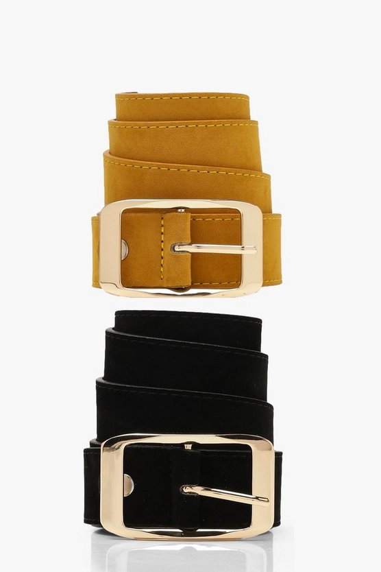 Womens Mustard Two Pack Suedette Boyfriend Belts