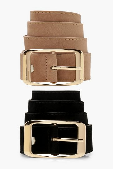 Womens Taupe 2 Pack Suedette Boyfriend Belts
