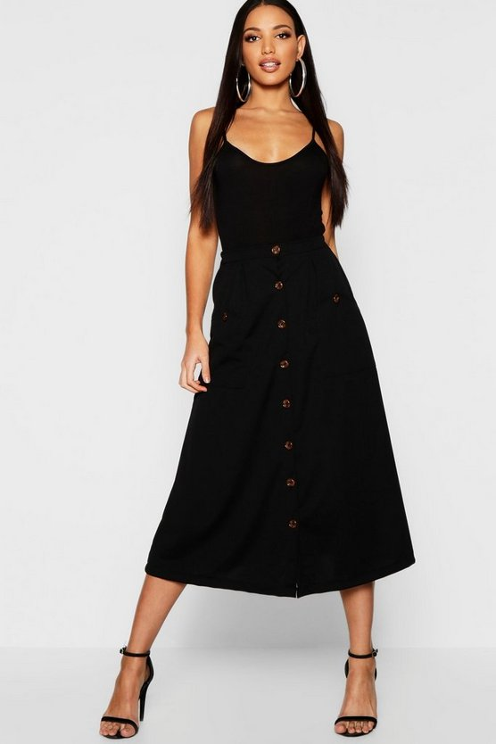 Woven Horn Button Midi Skirt