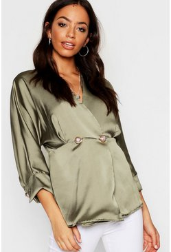 Womens Woven Military Button Blouse