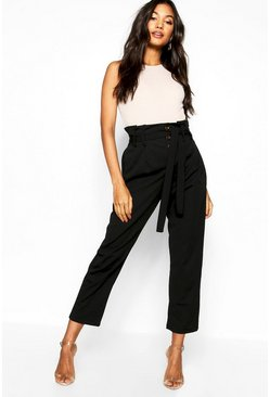 Womens Woven Button Tie Detail Pants