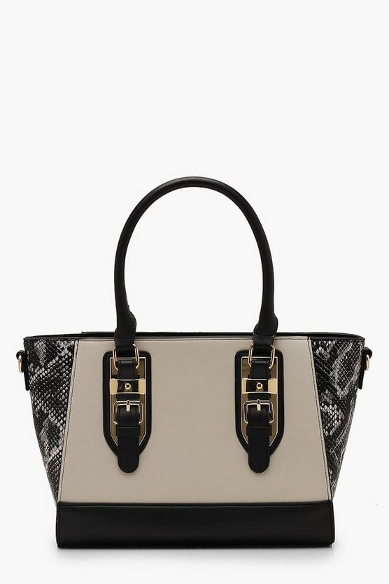 Womens Cream Faux Python Wings Tote Bag
