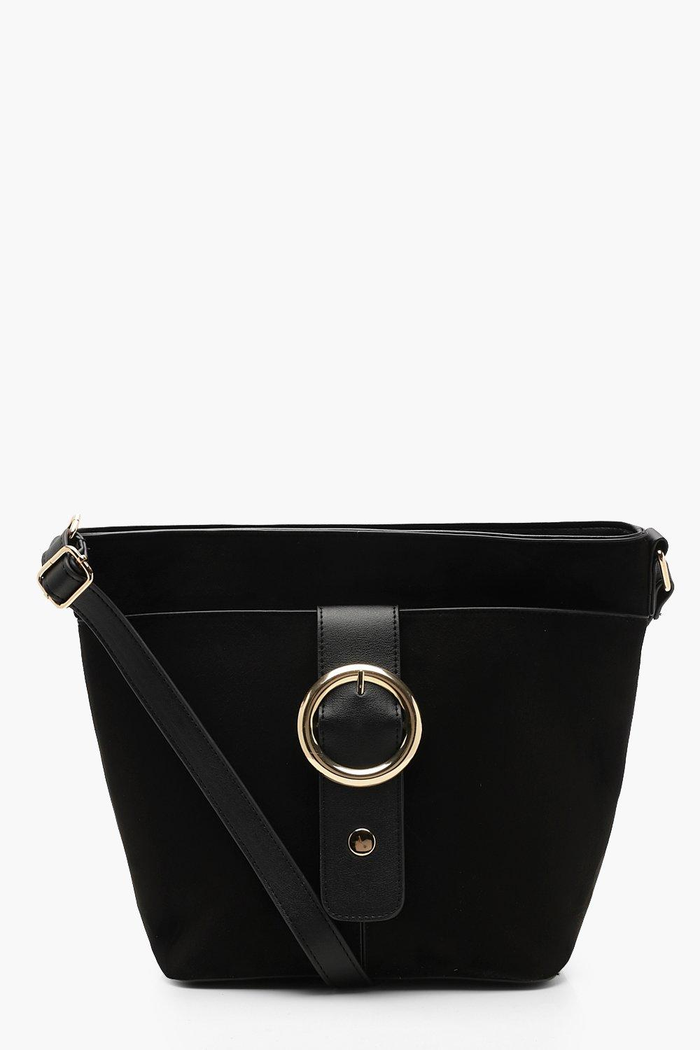 Suedette And Ring Buckle Bucket Bag