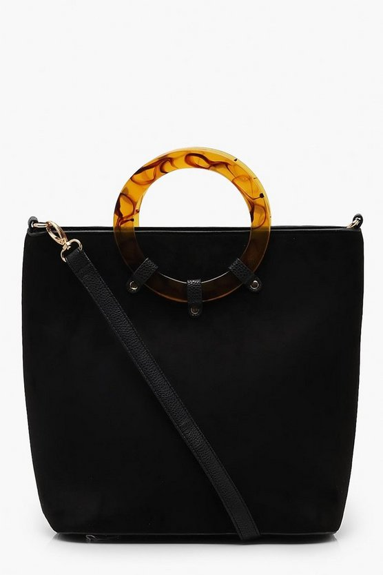 Womens Black Large Tortoise Shell Resin Ring Day Bag