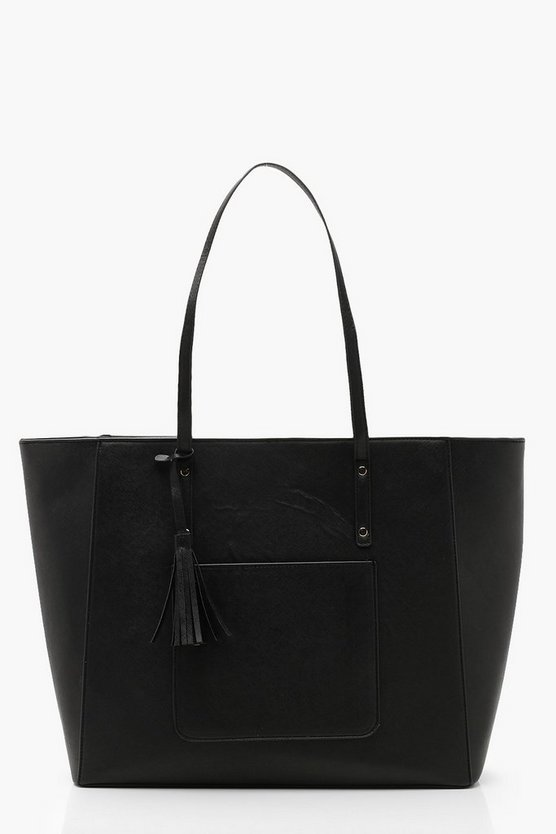 Structured Crosshatch Tassel Tote