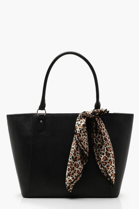 Womens Black Leopard Scarf Tote