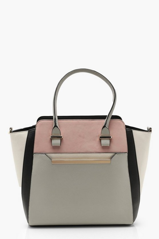 Womens Toupe Colour Block Pocket Tote