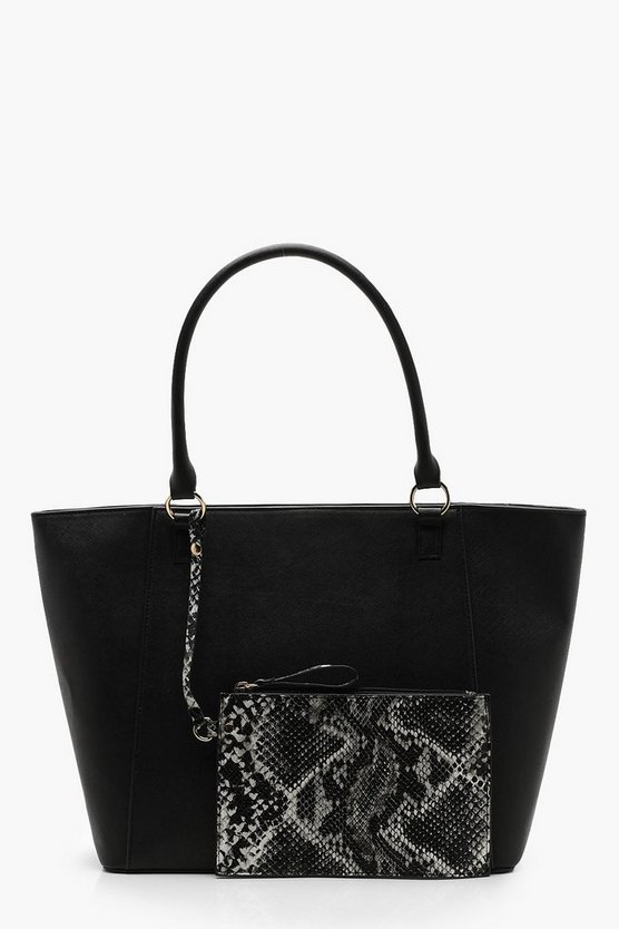 Purse Detail Shopper Bag, Black, Donna