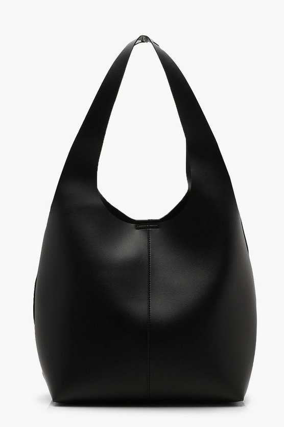 Womens Black Slouch Hobo Day Bag