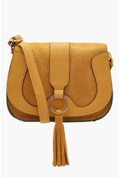 Womens Mustard Ring And Tassel Cross Body Bag