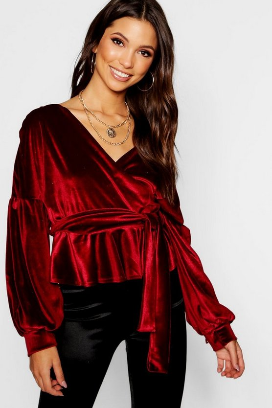 Velvet Bell Sleeve Wrap Over Top