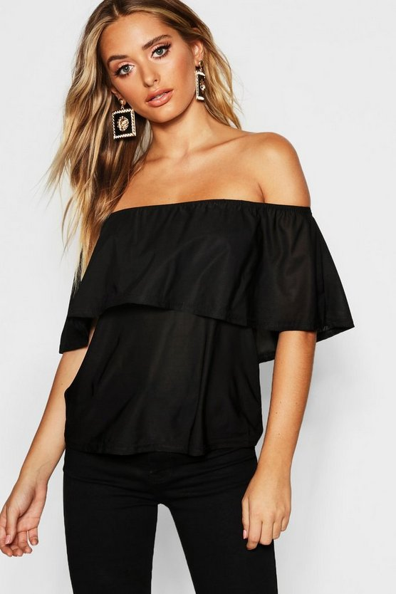 Womens Black Slinky Off The Shoulder Top