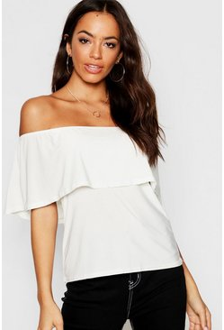 Womens Ivory Slinky Off The Shoulder Top