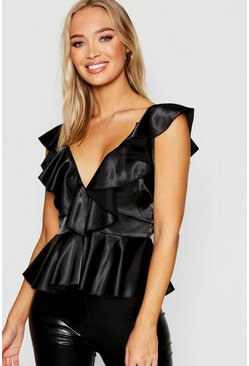 Womens Black Ruffle Front Tie Back Satin Peplum Top