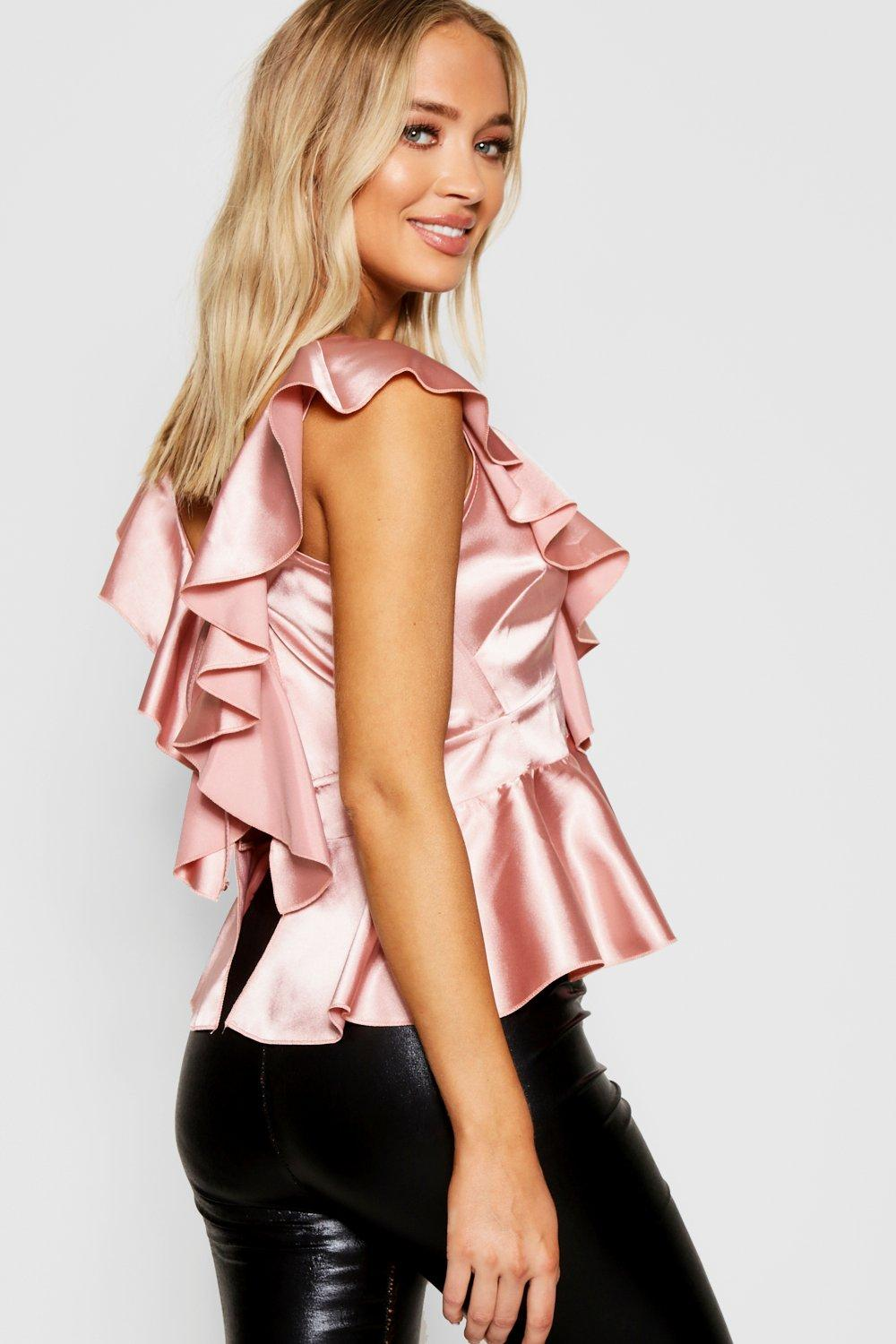 Top black Peplum Ruffle Tie Satin Back Front wgXqvY