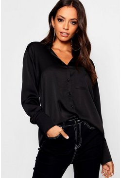 Womens Black Long Sleeve Satin Shirt