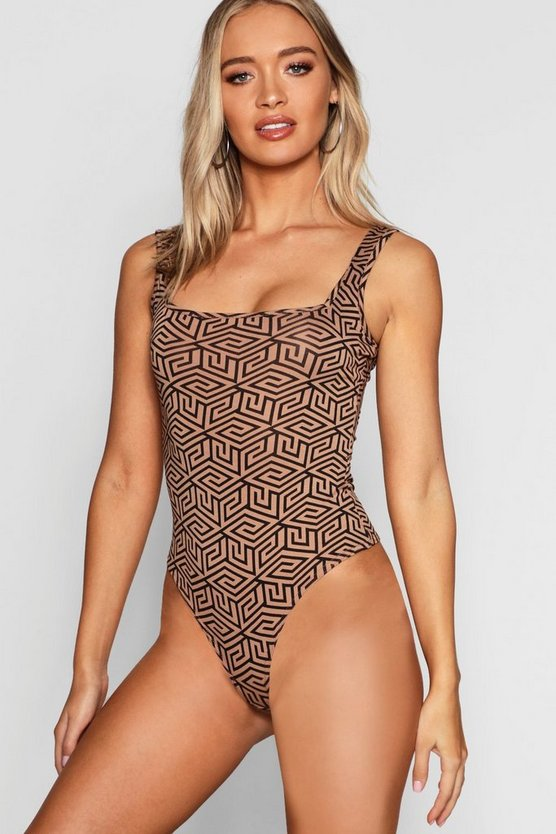 Womens Tan Repeat Geo Print Square Neck Bodysuit