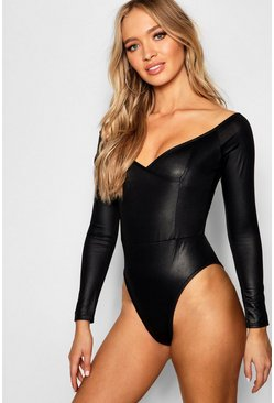 Womens Black Leather Look Off Shoulder Bodysuit