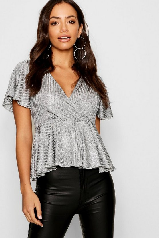 Metallic Rib Angel Sleeve Plunge Pep Top